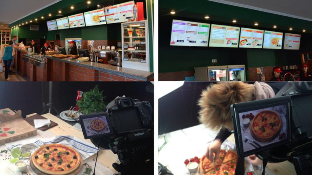 Пицца Челентано - оформление цифрового меню - Digital Signage idmc.com.ua